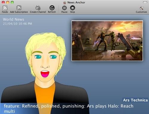 News Anchor 1.0 is text-to-speech news reader for Mac OS X