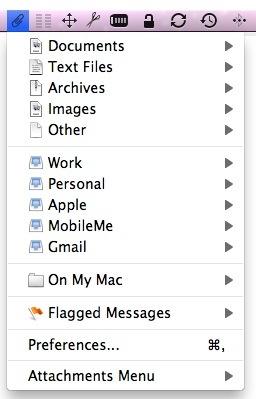 Attachments Menu organizes Apple Mail attachments in the menubar