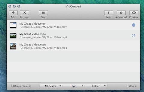 VidConvert is ready for OS X Mavericks