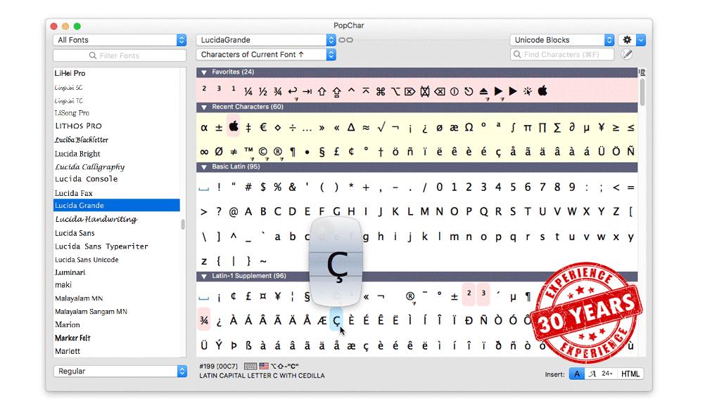 PopChar for macOS revved to version 8.8